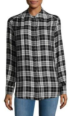 Lord & Taylor Lace-Up Back Plaid Shirt