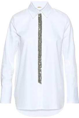 ADAM by Adam Lippes Crystal-Embellished Cotton-Poplin Shirt