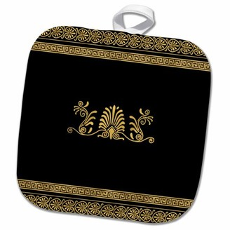 3dRose Golden Yellow and Black Ancient Greek Decorative Spirals and Palm Leaves - Classic Grecian Key - Pot Holder, 8 by 8-inch