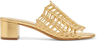 Mansur Gavriel Woven Metallic Leather Mules - Gold