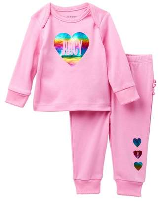 Juicy Couture Rainbow Foil Heart Top & Ruffle Bottom Pants Set (Baby Girls)