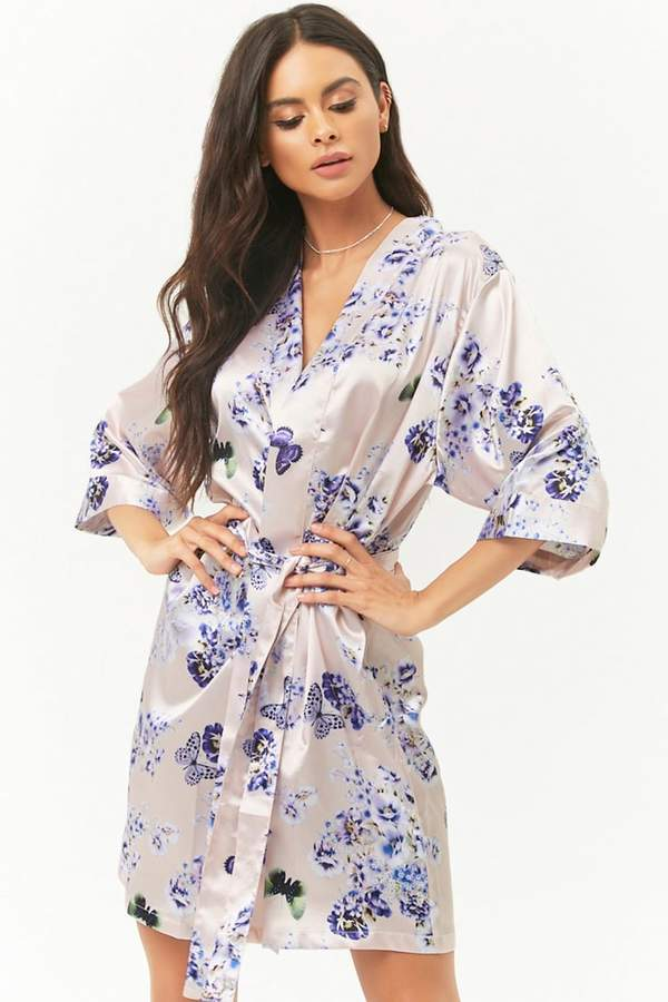 Pretty Robes Butterfly & Floral Print Robe
