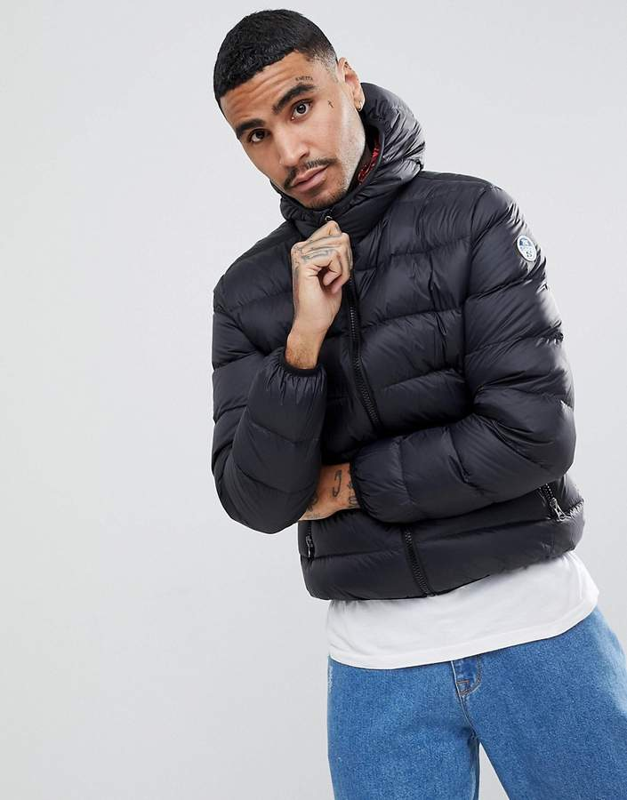 North Sails Hooded Down Puffer Jacket in Black