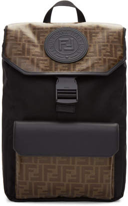 Fendi Black and Brown Forever Backpack