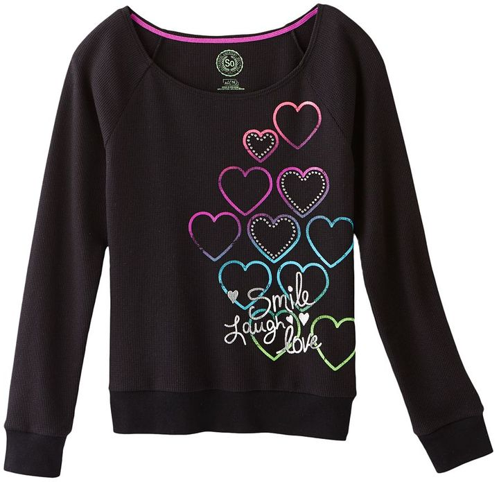 So ® heart thermal tee - girls plus