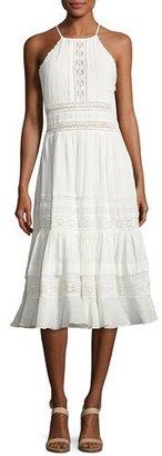 Rebecca Taylor Gauze Lace Sleeveless Midi Dress, White $595 thestylecure.com