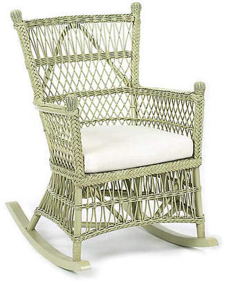 One Kings Lane Beehive Wicker Rocking Chair - Pale Sage