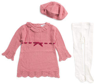 Infant Girls Sweater Dress With Beret & Tights