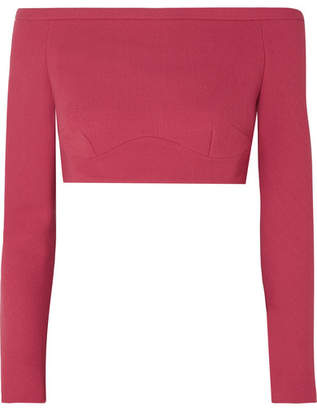 Emilia Wickstead Gerda Cropped Off-the-shoulder Wool-crepe Top