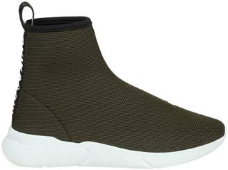 Moschino Sneakers In Fabric Color Military Green