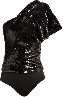 Alexandre Vauthier Sequinned One Shoulder Bodysuit - Womens - Black