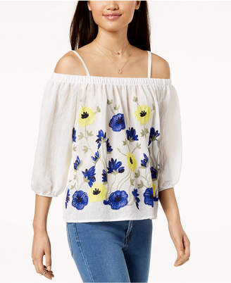 BCX Juniors' Embroidered Off-The-Shoulder Top