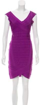 Herve Leger Mini Bandage Dress Violet Mini Bandage Dress