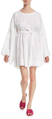Vita Kin Byzantium Round-Neck Flared-Sleeve Embroidered Linen Mini Dress