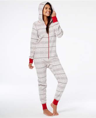 Matching Family Pajamas Women's Winter Fairisle Hooded One-Piece