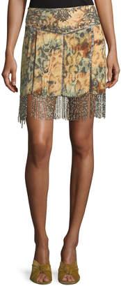 Haute Hippie The Orian Printed Mini Skirt w/ Embellishments