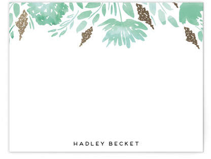 Watercolor Delight Border Foil-Pressed Personalized Stationery