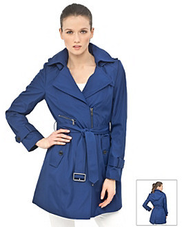 Marc New York Asymmetrical Zip Front Belted Trench Coat