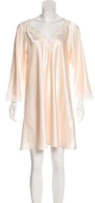 Oscar de la Renta Long Sleeve V-neck Night Gown