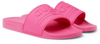 Gucci Logo-Embossed Rubber Slides - Men - Pink
