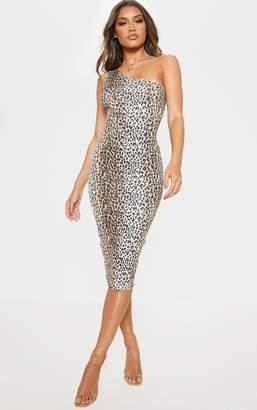 a53ec9c0e1954 PrettyLittleThing Tan Leopard Print One Shoulder Midi Dress