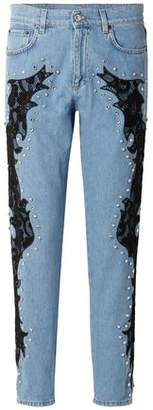 Moschino Lace-appliqued And Crystal-embellished Boyfriend Jeans