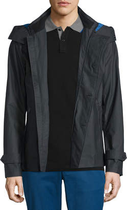 Michael Kors Double-Breasted Peacoat with Removable Hood Black