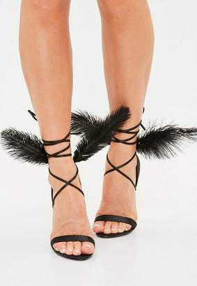 Missguided Black Feather Back Lace Up Barely There Sandals