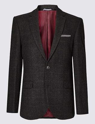 Marks and Spencer Big & Tall Brown Wool Rich Tailored Fit Jacket