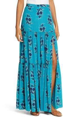 Veronica Beard Serence Floral Print Silk Maxi Skirt