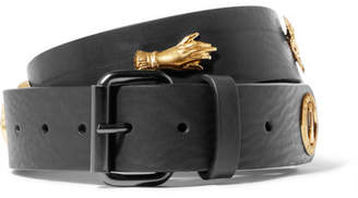 Embellished Leather Belt - Black