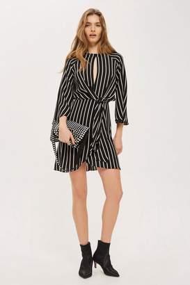 Topshop Tall Mono Stripe Knot Front Wrap Dress