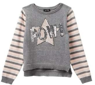 Zunie Long Sleeve Stripe Sleeve Sequin Star Pow Pullover Sweater (Little Girls)