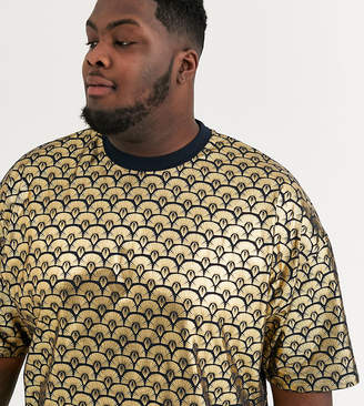 Asos Design DESIGN Plus oversized t-shirt in all over deco style gold foil print