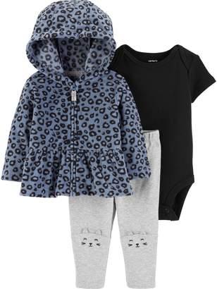 Carter's Baby Girl Fleece Cheetah Print Hoodie, Bodysuit & Pants Set