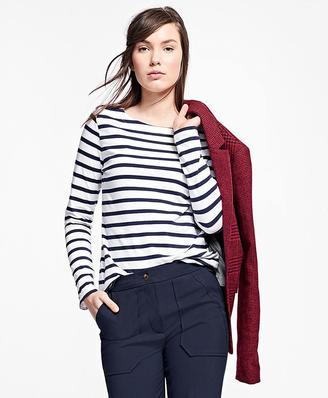 Stripe Jersey-Knit Top $38 thestylecure.com