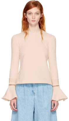 See by Chloe Off-White Bell Sleeve Sweatshirt