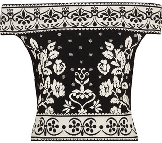 Alexander McQueen - Off-the-shoulder Jacquard-knit Top - Black $995 thestylecure.com
