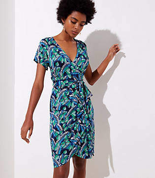 LOFT Beach Palm Island Wrap Dress