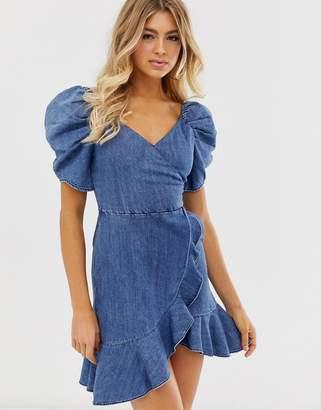 Miss Sixty denim flare dress with strap detail