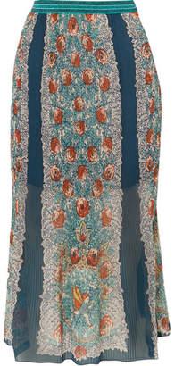 Anna Sui Flower Child 印花细褶真丝雪纺半身裙