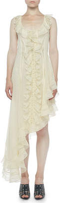 Alexander McQueen Sleeveless Sheer Lace Ruffle-Hem Dress