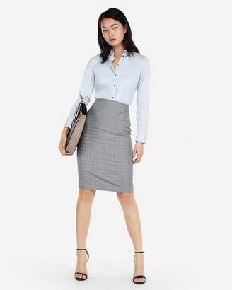 Express High Waisted Plaid Pencil Skirt