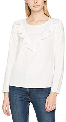 Tom Tailor Women's Blouse with Flounce Insert (White 8005), (Size: Small)