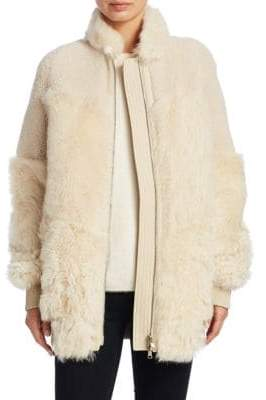 Theory Reversible Shearling Patchwork Coat
