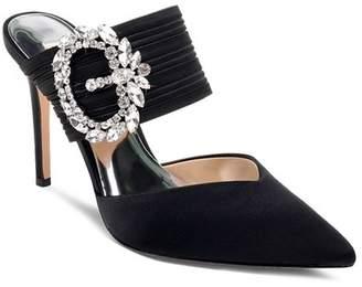 Badgley Mischka Women's Fancy Crystal Buckle High-Heel Mules