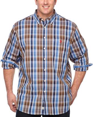 U.S. Polo Assn. USPA Mens Button Down Collar Neck Long Sleeve Plaid Button-Front Shirt Big and Tall