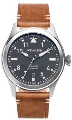 Jack Mason Aviation Leather Strap Watch, 42mm