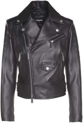 DSQUARED2 Quilted-shoulder Leather Biker Jacket
