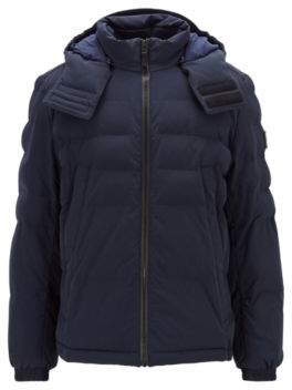 BOSS Hugo Water-repellent padded jacket in four-way stretch fabric 40R Dark Blue